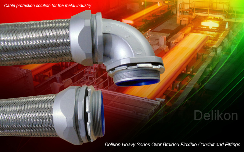 [CN] Heavy Series Over Braided Flexible Conduit over braided flexible Conduit Fittings for metal industry electrical power and data cables protection