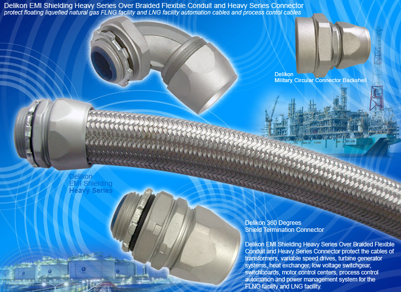 [CN] industrial AUTOMATION EMI Shielding Heavy Series Over Braided Flexible Conduit Heavy Series Conduit fittings protect floating liquefied natural gas FLNG fa